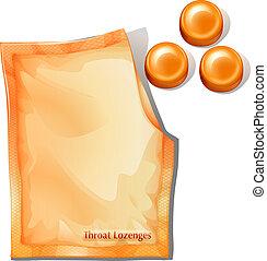 A pack of orange throat lozenges