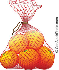 Illustration of a pack of ripe oranges on a white background