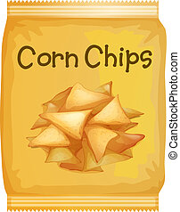 Illustration of a packet of corn chips on a white background