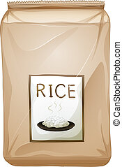 A packet of rice - Illustration of a packet of rice on a...