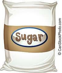Illustration of a packet of sugar on a white background