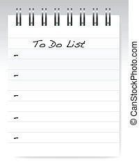 to do list - a pad of paper isolated on white, to do list