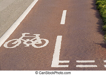 cycle lane - a painted cycle on the pavement indicating a...