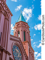 Painted Red Brick Church