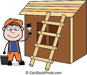 A Painter Painting a House - Retro Cartoon Carpenter Worker Vector Illustration