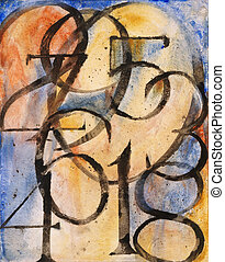 a painting constructed from the numbers 0 to 9