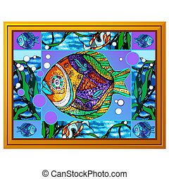 A painting of multicolored fish with abstract patterns isolated on white background. Vector cartoon close-up illustration.