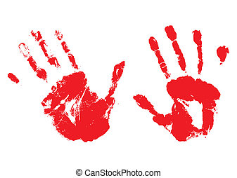 A pair of bloody hands made with ink or paint