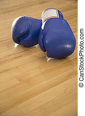 boxing gloves - A pair of blue boxing gloves in a gym