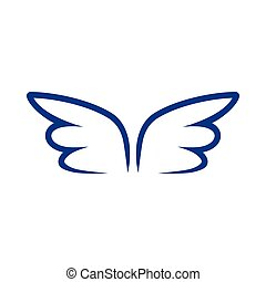 A pair of blue contour wings icon, simple style