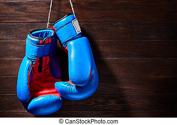 A pair of bright blue and red boxing gloves hangs against wooden background.