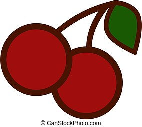 A pair of cherries, illustration, vector on white background.