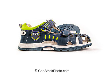 a pair of children's blue green sandals with velcro fasteners