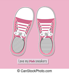 A pair of cute pink sneakers
