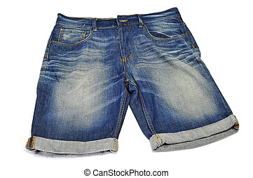 a pair of denim shorts on a white background