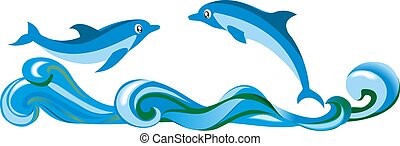 A pair of dolphins over the waves in the sea