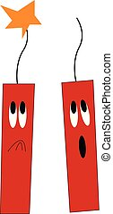 A pair of dynamites vector or color illustration - Two red...
