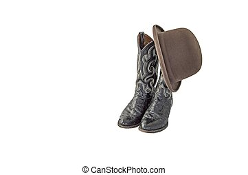 A pair of fancy black cowboy boots with a brown felt derby