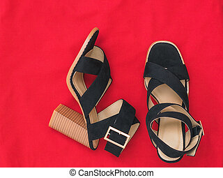 A pair of fashionable women's high-heeled shoes with red fabric. Flat lay.