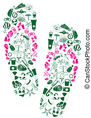 a pair of flip-flops - Vector illustration of a pair of...