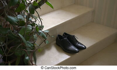 A Pair of Formal Men's Leather Shoes on a Stairs.
