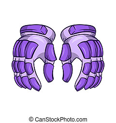 A pair of hockey gloves icon, cartoon style