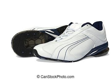 running shoes - A pair of men's running shoes on white