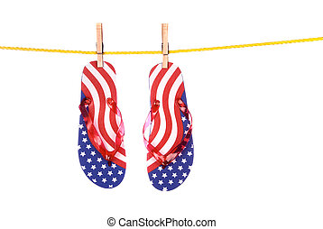 Fourth of July flip flops - A pair of patriotic Fourth of...