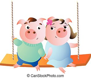 A pair of pigs on a swing.