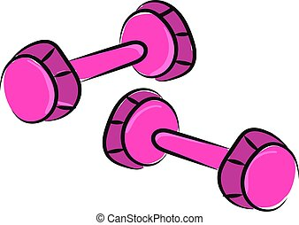 A pair of pink dumbbells, illustration, vector on white background.