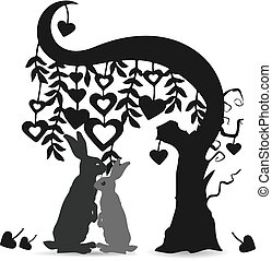 A pair of rabbits (gray), under a tree of hearts, (ornate) Silhouette cartoon on a white background,