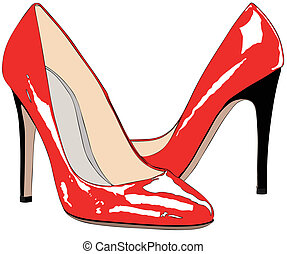 A pair of red shoes
