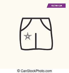 A pair of shorts, pants with pockets icon.