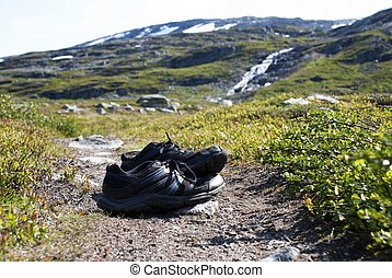 Sneakers in a Mountanious Landscape