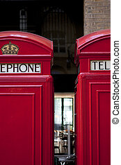 A pair of traditional red phone