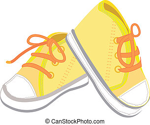 baby boots illustration - A pair of yellow baby boots...