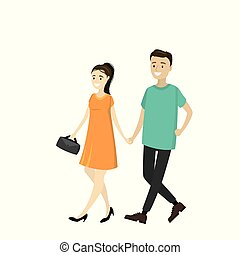 A pair of young people are walking and holding hands,isolated on white background,