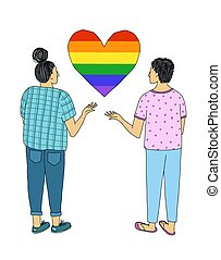 A pair of young people with their hands raised to their hearts in the colors of the LGBT flag.
