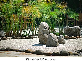 a, paisible, zen, rocaille