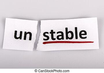 a, palavra, instável, changed, para, estável, ligado, papel...