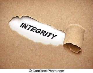 a, palavra, integridade, atrás de, papel rasgado