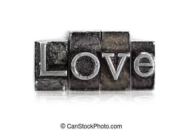 "a, palavra, ""love"", em, letterpress, tipo"