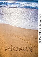 a, palavra, preocupação, escrito, areia