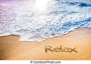 a, palavra, relaxe, escrito, em, a, areia