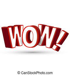 a, palavra, wow, em, grande, vermelho, 3d, letras, mostrar,...