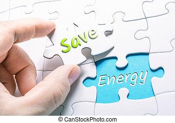 a, palavras, salvar, e, energia, em, parte faltante, quebra-cabeça