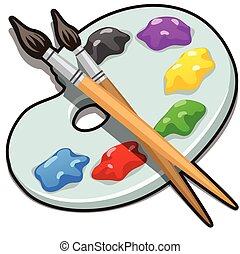 A palette with paint and brushes isolated on white background. Vector cartoon close-up illustration.