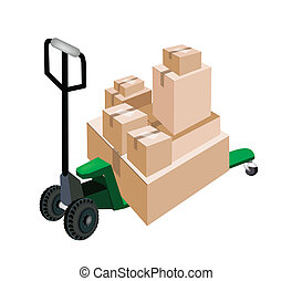 A Pallet Truck Loading Stack of Shipping Boxes - Fork Pallet...