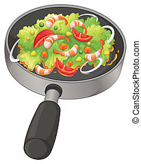 A pan with a food