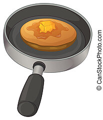A pan with a pancake - Illustration of a pan with a pancake...